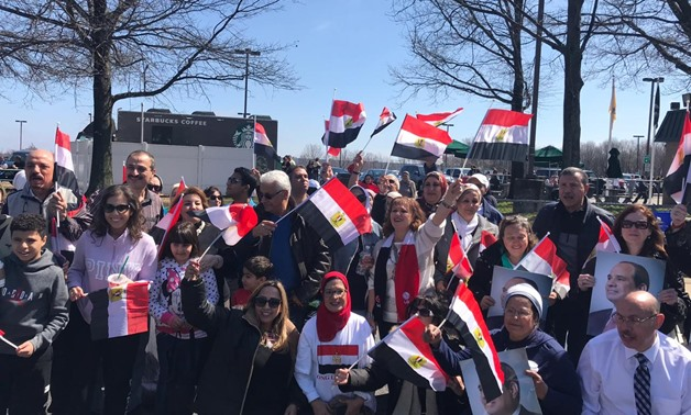 Many of the Egyptian expatriates in the U.S. were seen gathering, preparing to receive President Sisi in Washington – Press photo