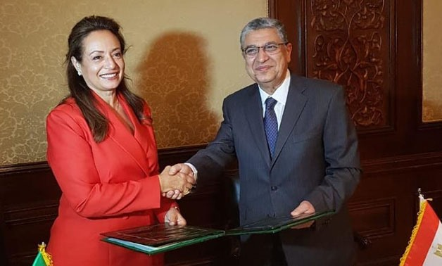 African Union Commissioner for Infrastructure and Energy, H.E. Dr. Amani Abou-Zeid and the Egyptian Minister of Electricity and Renewable Energy, H.E. Dr. Mohamed Shaker El Markabi  - Press photo