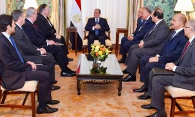President Abdel Fatah al-Sisi during his meeting with US Secretary of State Mike Pompeo at his residence in Blair House in Washington - Press Photo