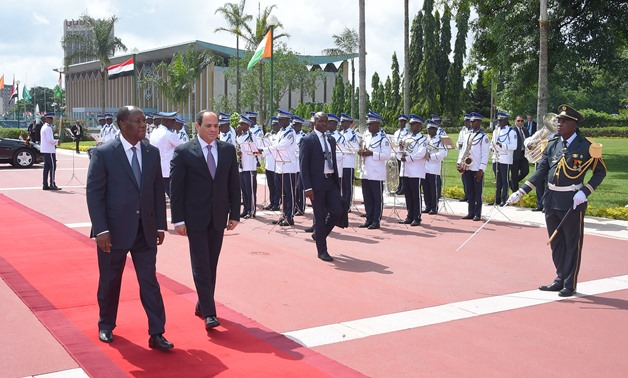 President Abdel Fatah al-Sisi (R) with his Côte d'Ivoire's counterpart Alassane Ouattara (L) in Abidjan- press photo