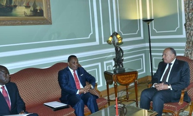 SamehShoukry meet with Congo-Brazzaville's counterpart Jean-Claude Gakosso in Cairo on April 14, 2019- press photo