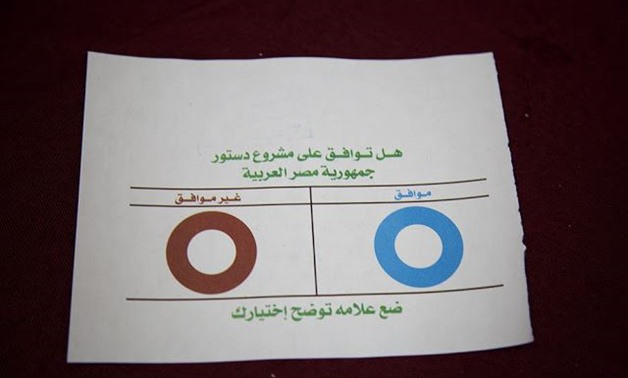 A ballot of Egyptian voters used in the constitutional referendum in 2012 – Wikimedia Commons/Yuli Weeks