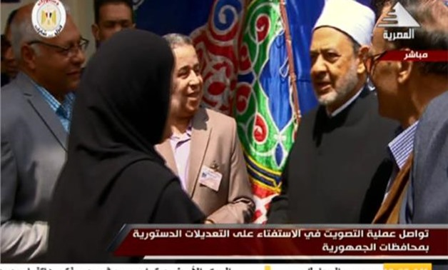Egypt's Grand Mufti Shawki Allam cast his vote on Saturday morning, in a referendum on some proposed constitutional amendments - TV Screenshot