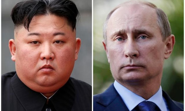 A combination of file photos shows North Korean leader Kim Jong Un attending a wreath laying ceremony at Ho Chi Minh Mausoleum in Hanoi, Vietnam March 2, 2019 and Russia's President Vladimir Putin looking on during a joint news conference with South Afric