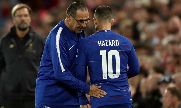 FILE PHOTO: Chelsea's Eden Hazard talks to manager Maurizio Sarri at Anfield, Liverpool, Britain - September 26, 2018. Action Images via Reuters/Lee Smith/File Photo