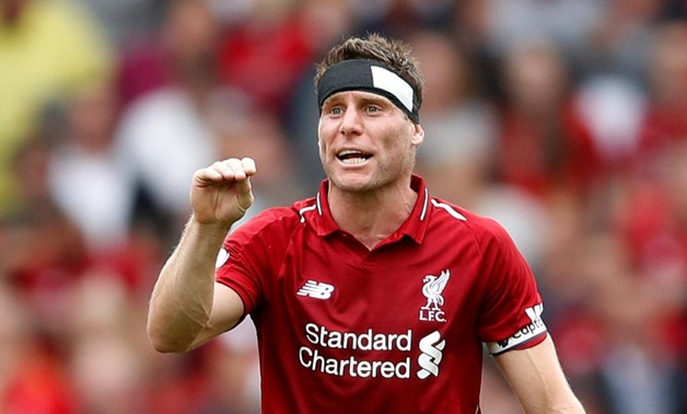 Anfield, Liverpool, Britain - August 12, 2018 Liverpool's James Milner gestures during the match Action Images via Reuters/Carl Recine