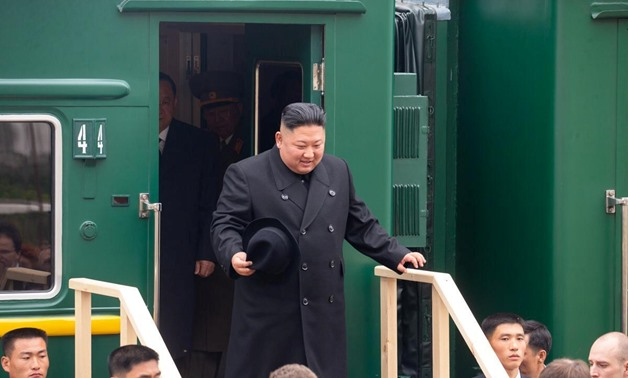 North Korean leader Kim Jong Un disembarks from a train during a welcoming ceremony at a railway station in the far eastern settlement of Khasan, Russia April 24, 2019. Press Service of Administration of Primorsky Krai/Alexander Safronov/Handout via REUTE