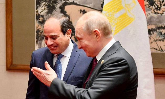 President Abdel Fatah al-Sisi and Russian counterpart Vladimir Putin meet on the sidelines of the second Belt and Road Forum for International Cooperation (BRFIC) in Beijing on Friday, April 26, 2019- press photo