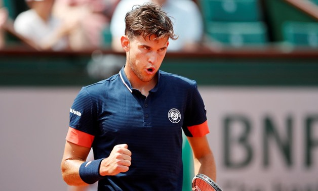 une 3, 2018 Austria's Dominic Thiem reacts during his fourth round match against Japan's Kei Nishikori REUTERS/Pascal Rossignol