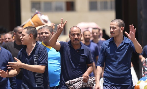 File- Prisoners released per presidential pardon on first day of Eid al-Fitr on June 15, 2018 - Hazim Abdel Samad