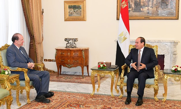 President Abdel Fatah al-Sisi meets with World Bank Group (WBG) President David Malpass in Cairo on Saturday, May 5, 2019- press photo