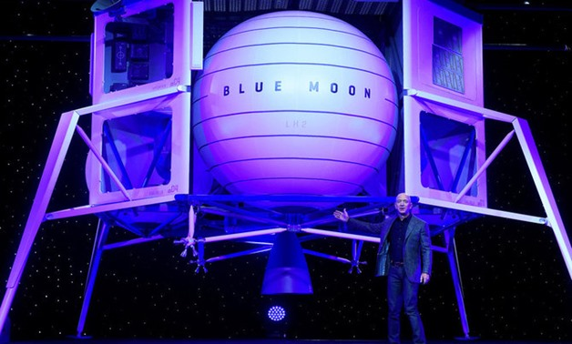 Founder, Chairman, CEO and President of Amazon Jeff Bezos unveils his space company Blue Origin's space exploration lunar lander rocket called Blue Moon during an unveiling event in Washington on May 9, 2019. (REUTERS/Clodagh Kilcoyne)