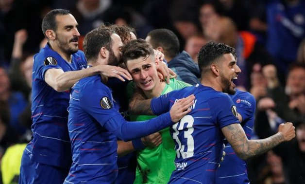 Chelsea's Kepa Arrizabalaga, Davide Zappacosta, Gonzalo Higuain and Emerson Palmieri celebrate winning the penalty shootout - REUTERS/David Klein T
