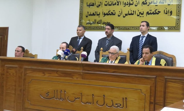 "The judiciary panel at Cairo Criminal Court in a trial session of ""Marmina Church Incident"" lawsuit where the ruling was issued. May 12, 2019. Egypt Today/Azouz El Dib"