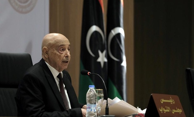 Aguila Saleh, Libya's parliament president, speaks during the first session at parliament headquarters in Benghazi, Libya April 13, 2019. REUTERS/Esam Omran