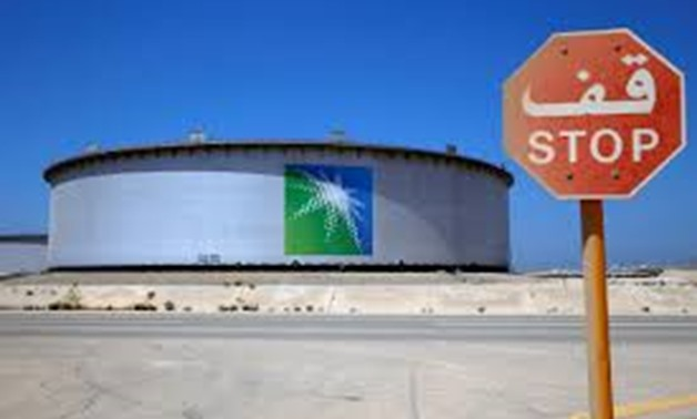 FILE PHOTO: An Aramco tank is seen at Saudi Aramco's Ras Tanura oil refinery and oil terminal in Saudi Arabia May 21, 2018. Picture taken May 21, 2018.