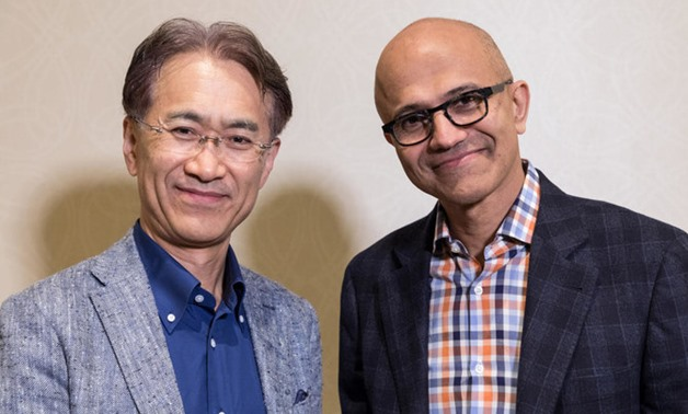Kenichiro Yoshida, President and CEO, Sony Corporation and Satya Nadella, CEO, Microsoft Corporation. (File/Reuters)