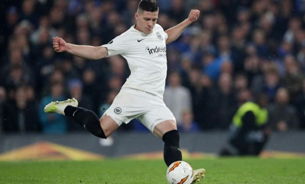 Soccer Football - Europa League Semi Final Second Leg - Chelsea v Eintracht Frankfurt - Stamford Bridge, London, Britain - May 9, 2019 Eintracht Frankfurt's Luka Jovic scores a penalty during the shootout REUTERS/Hannah Mckay