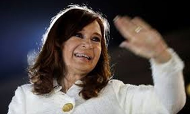 """FILE PHOTO: Argentina's former President Cristina Fernandez de Kirchner waves to supporters after the presentation of her book """"Sinceramente"""", at the Buenos Aires book fair, in Buenos Aires, Argentina May 9, 2019. REUTERS/Agustin Marcarian/File Photo"""