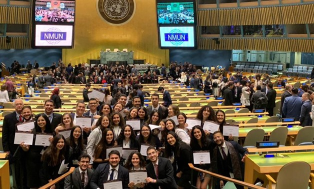The Cairo International Model United Nations (CIMUN) delegation of The American University in Cairo (AUC) at the National Model United Nations conference recently held in New York. Photo courtesy of AUC
