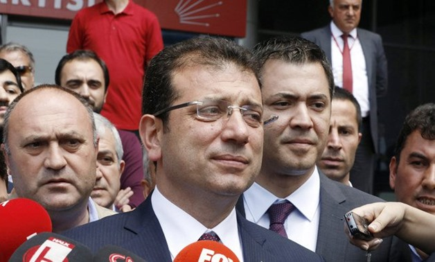 Ekrem Imamoglu, mayoral candidate of the main opposition Republican People's Party, CHP, speaks to the media in Ankara on May 7, 2019. (AP)