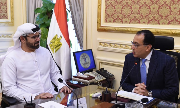 Prime Minister Mostafa Madbouly, and Minister of Cabinet Affairs and the Future of the United Arab Emirates Mohammad El Gergawi in a meeting in Cairo, Egypt. May 23, 2019 - Press Photo