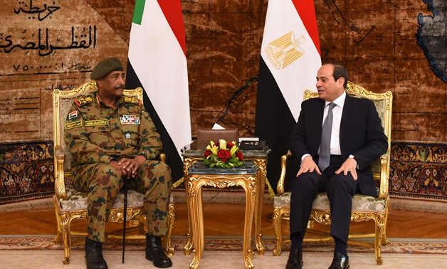 President Abdel Fatah al-Sisi meets with Sudanese Transitional Military Council Chairman Abdel Fatah al-Burhan in Cairo on Saturday, May 25, 2019- press photo