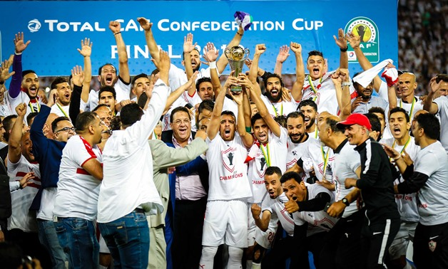 FILE- Zamalek players celebrate their African Victory