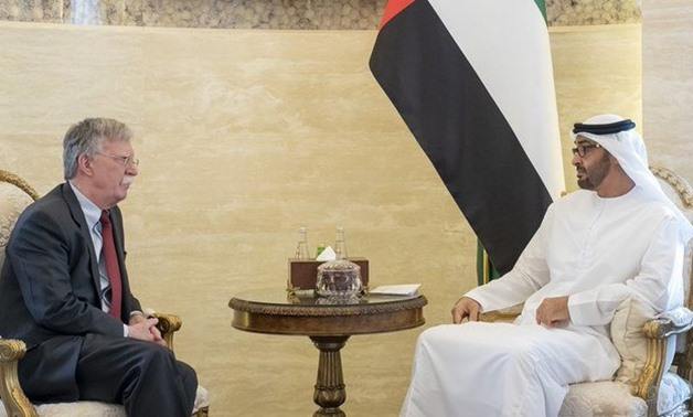 Bolton was received on Wednesday by Abu Dhabi Crown Prince Mohammed bin Zayed. (Emirates News Agency)