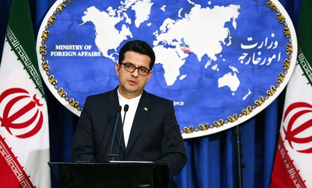 Abbas Mousavi, spokesman for Iran's Foreign Ministry, gives a press conference in the capital Tehran on May 28, 2019. (Photo by ATTA KENARE / AFP)