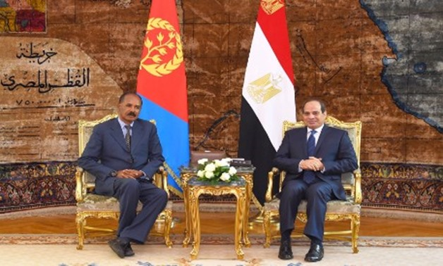 President Abdel Fatah al-Sisi (R) during his meeting with his Eritrean counterpart Isaias Afwerki at the Ittihadiya Palace in Cairo - Courtesy of presidency