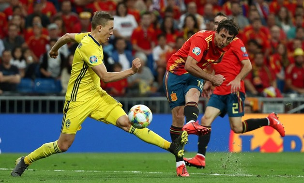 Soccer Football - Euro 2020 Qualifier - Group F - Spain v Sweden - Santiago Bernabeu, Madrid, Spain - June 10, 2019 Spain's Mikel Oyarzabal scores their third goal REUTERS/Sergio Perez