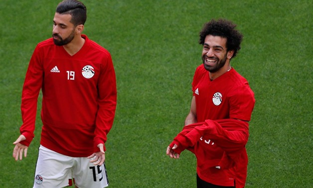 Soccer Football - World Cup - Egypt Training - Ekaterinburg Arena, Yekaterinburg, Russia - June 14, 2018 Egypt's Mohamed Salah and Abdallah Said during training REUTERS/Andrew Couldridge