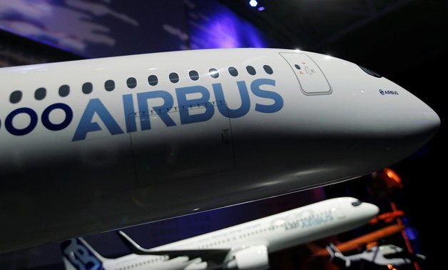 The Airbus logo is pictured on a scale model of an Airbus A350 as Airbus announces annual results in Blagnac, near Toulouse, France February 14, 2019. REUTERS/Regis Duvignau