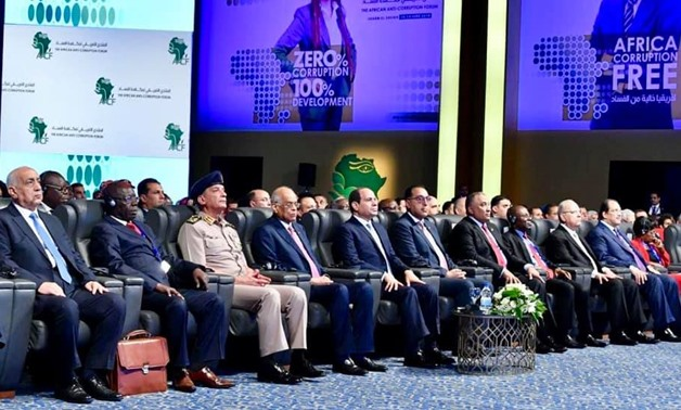 President Sisi attends the inaugural session of the African Anti-Corruption Forum (AACF) held in the Red Sea resort city of Sharm El Sheikh - Press photo