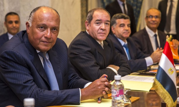 Egyptian Foreign Minister Sameh Shoukry, left, and his Algerian counterpart Sabri Boukadoum, 2nd left, attend a meeting in Tunis, Tunisia, Wednesday, June 12, 2019. (AP)