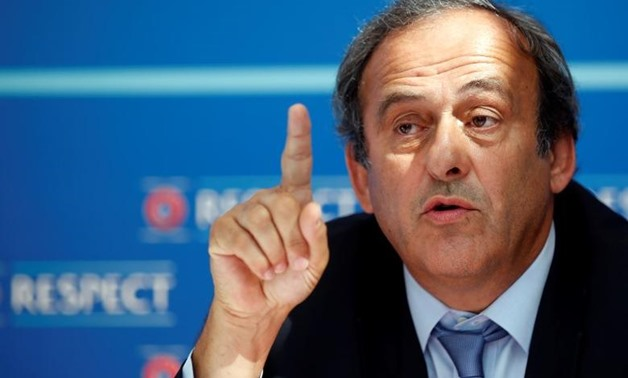 UEFA President Michel Platini attends a news conference after the draw for the 2015/2016
