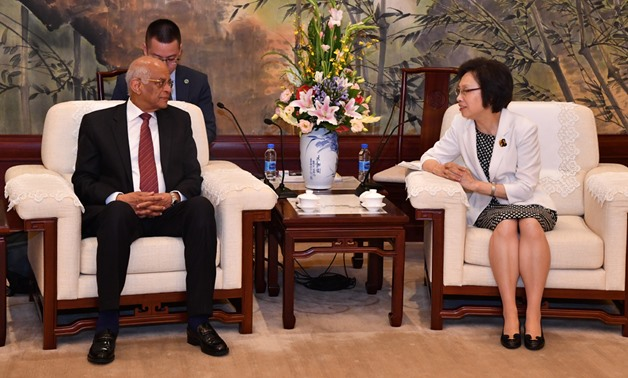 Speaker of the House of Representatives Ali Abdel Aal in a meeting with the head of the Shanghai Municipal Committee of the Communist Party of China (CPC). June 17, 2019. Press Photo