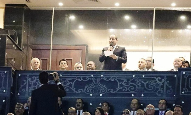 Sisi welcoming all African teams participating in the 2019 African Nations Championship (AFCON) in his inaugurating speech, on Friday/ Egypt Today