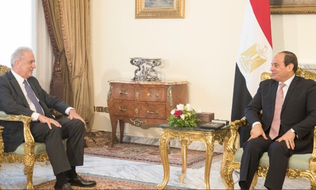 President Abdel Fatah al-Sisi met Tuesday with EU Commissioner for Migration, Home Affairs and Citizenship Dimitris Avramopoulos - Photo from Avramopoulos's Twitter