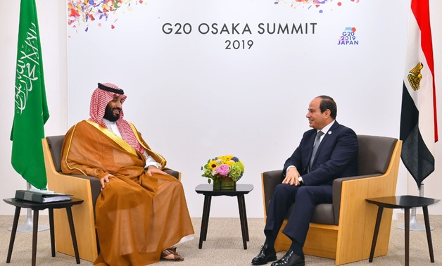 Egyptian President Abdel Fatah al-Sisi (L) and Saudi Crown Prince Mohamed bin Salman during a bilateral meeting on the sidelines of the G20 summit held in Osaka, Japan - Press photo