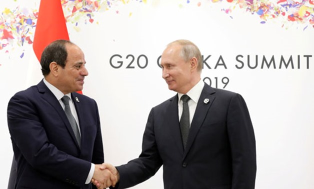 President Abdel Fatah al-Sisi met with his Russian Counterpart Vladimir Putin on the sidelines of the G20 summit in Osaka - Press photo