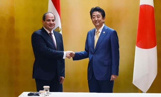 Japanese Prime Minister Shinzo Abe receives Egyptian President Abdel Fattah al-Sisi Thursday in Osaka - Press photo