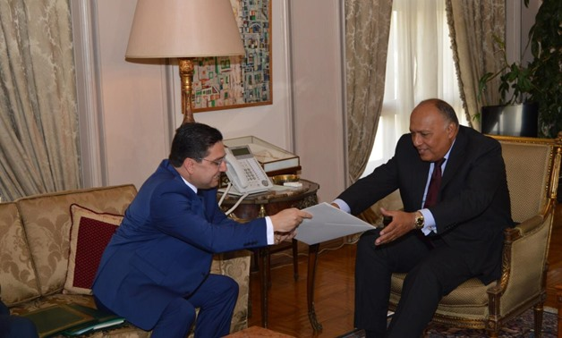 Egypt's Foreign Minister Sameh Shoukry met with his Moroccan counterpart on Monday, where he received the message sent by King Mohammed VI of Morocco to President Sisi – Press photo