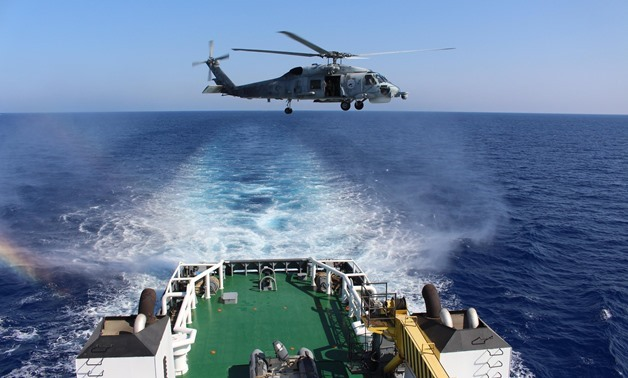 Egyptian naval vessel taking part on the joint naval and air drill between Egypt, Cyprus