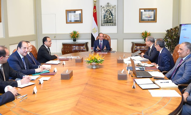 President Sisi has a meeting with Prime Minister Mostafa Madbouli, Supply Minister Ali el Moselhi, Interior Minister Mohamed Tawfiq and Communications Minister Amr Talaat along with General Intelligence Service Director Abbas Kamel, Chief of the Administr
