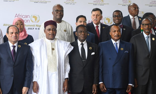(Front row, LtoR): Egyptian President and AU chairman Abdel Fattah Al-Sissi, Niger's President Mahamadou Issoufou, Equatorial Guinea's President Teodoro Obiang, Congo's President Denis Sassou Nguesso and Rwanda's President Paul Kagame pose before the open