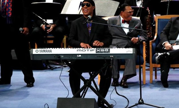 FILE PHOTO: Stevie Wonder performs at the funeral service for the late singer Aretha Franklin at the Greater Grace Temple in Detroit, Michigan, U.S., August 31, 2018. REUTERS/Mike Segar/File Photo.
