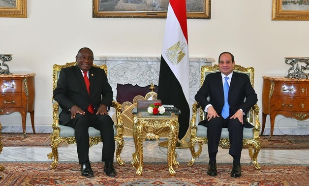 President Abdel Fatah al-Sisi in a meeting with South African counterpart Cyril Ramaphosa - FILE