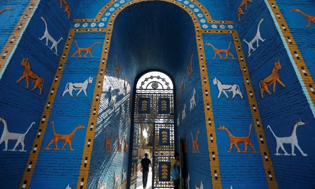 A view of a replica of Ishtar gate at the ancient city of Babylon near Hilla, Iraq July 5, 2019. REUTERS/Thaier Al-Sudani<br />
